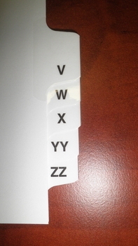 Letter MM, Side Tab, Letter Size, 1/26 Cut | Double Letters Tabs